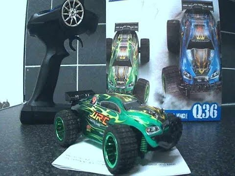 jjrc q36 rc truggy first run then out running  a 1/10 brushless truggy plz read description!!