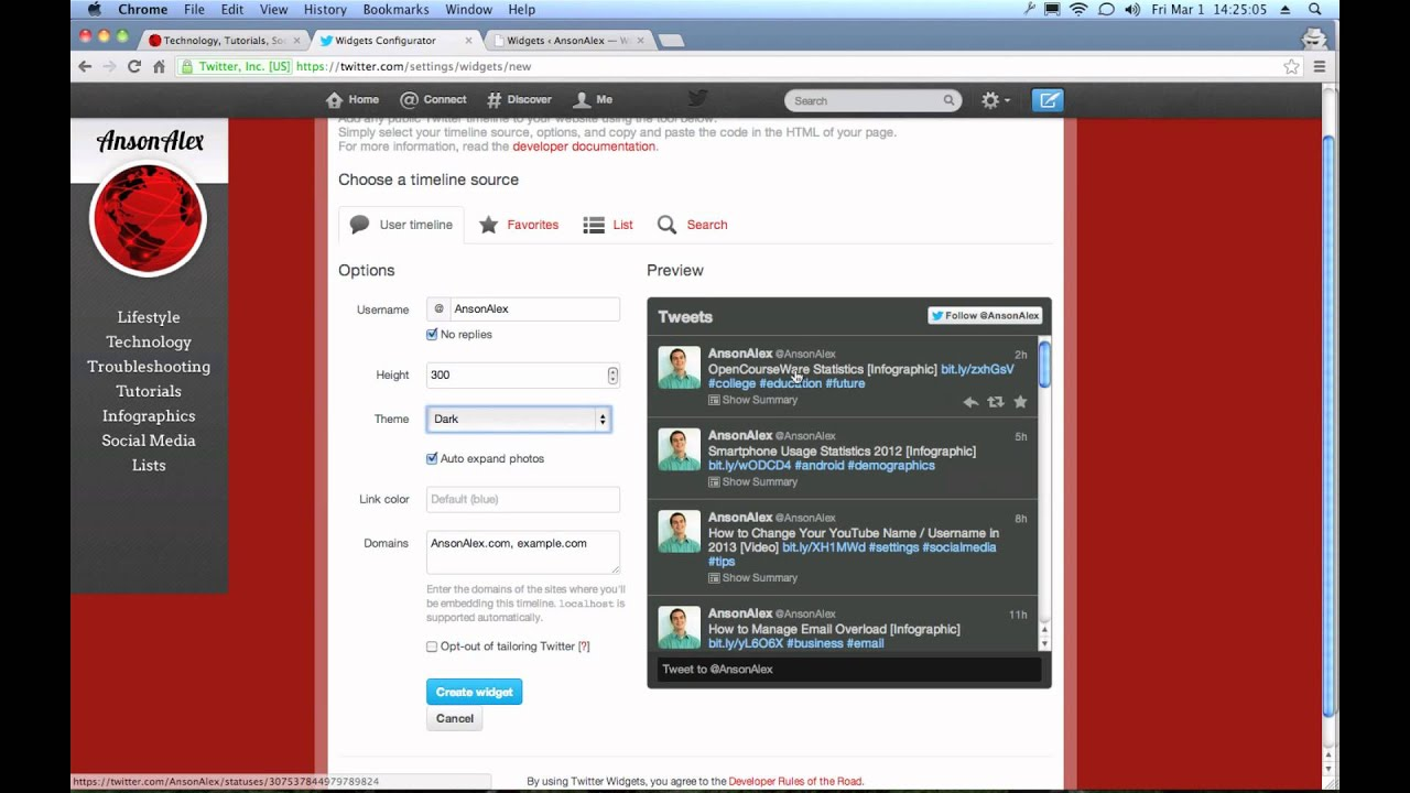 Examples Of Twitter Feed On Home Page