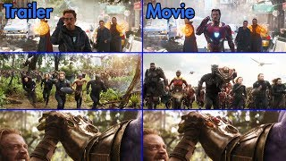 Avengers: Infinity War - Trailer vs Movie Comparison [4K UHD]