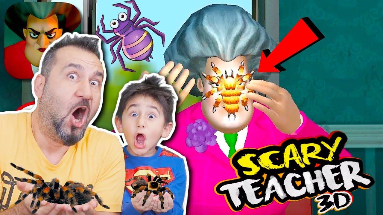 Kizgin Ogretmene Orumcek Sakasi Yaptik Pastasini Patlattik Scary Teacher 3d Oynuyoruz Youtube