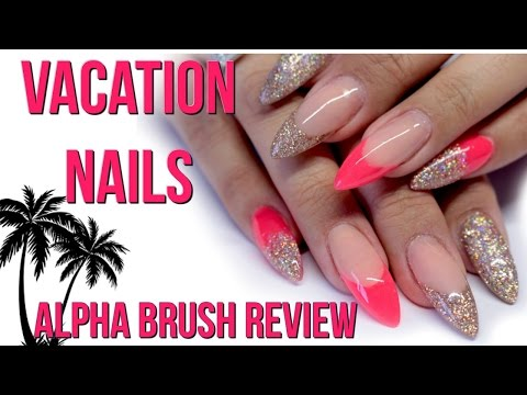 🌴NEON VACATION NAILS! ALPHA ACRYLIC BRUSH REVIEW🌴