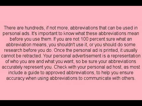 Craigslist personal ad abbreviations