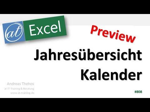 Jahresübersicht in Excel erstellen - Jahresplaner - Kalender - Preview