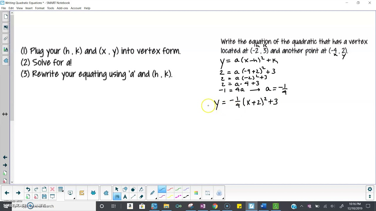 writing quadratic functions  youtube