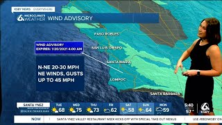Red Flag Warning, wind advisory and watch in effect for the Central Coast