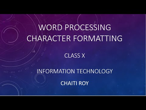 Character Formatting In Word Processing