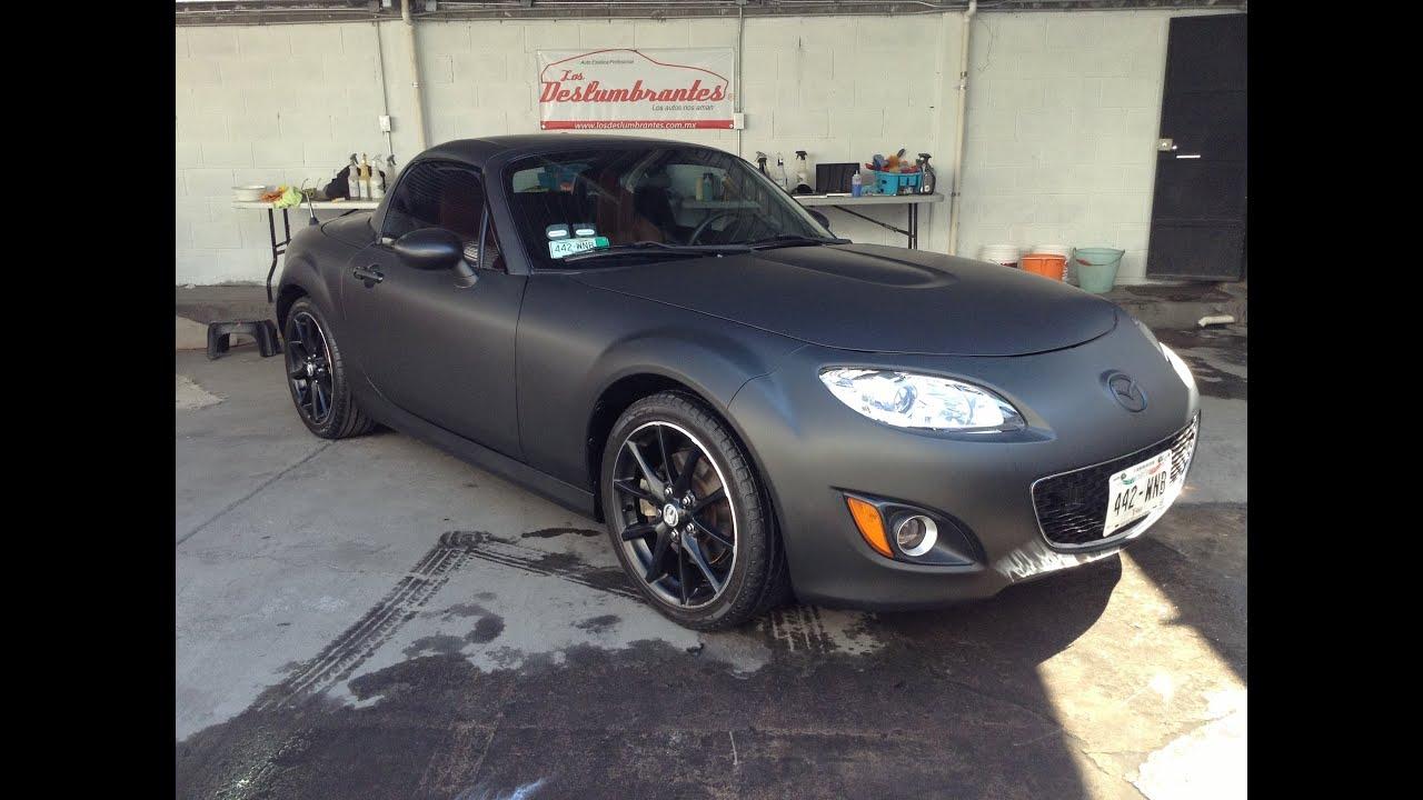 Forrado de coches en México DF, vinil negro mate, Mazda MX5 - YouTube