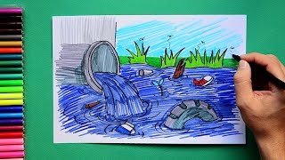 How to draw and color industrial waste or sewage dumped in river