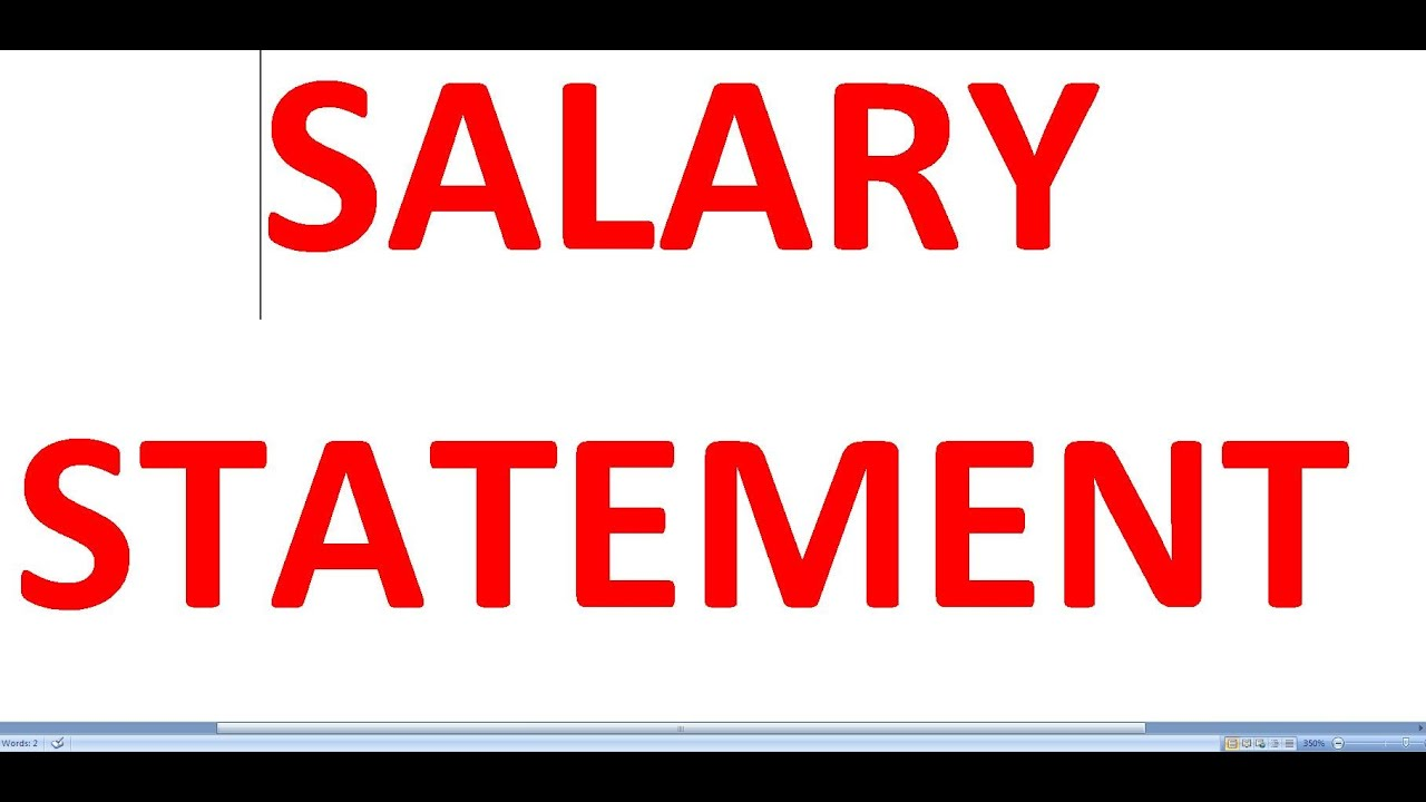 Salary Statement L Basic Salary L Pf L Esi  Youtube