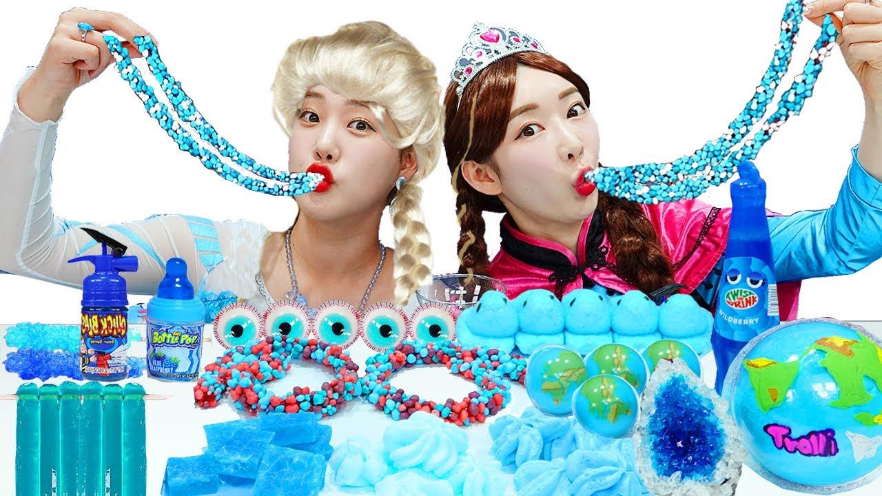 Frozen Elsa Blue ice Mukbang 보람이와 탕이의 엘사 파란색 음식 먹방  Boram Yummy [보람 야미]