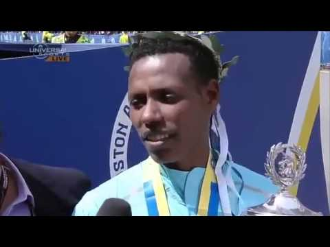 Funny Ethiopian Boston Mararon winner Lelisa I PUSH I PUSH and  weather Good people Good