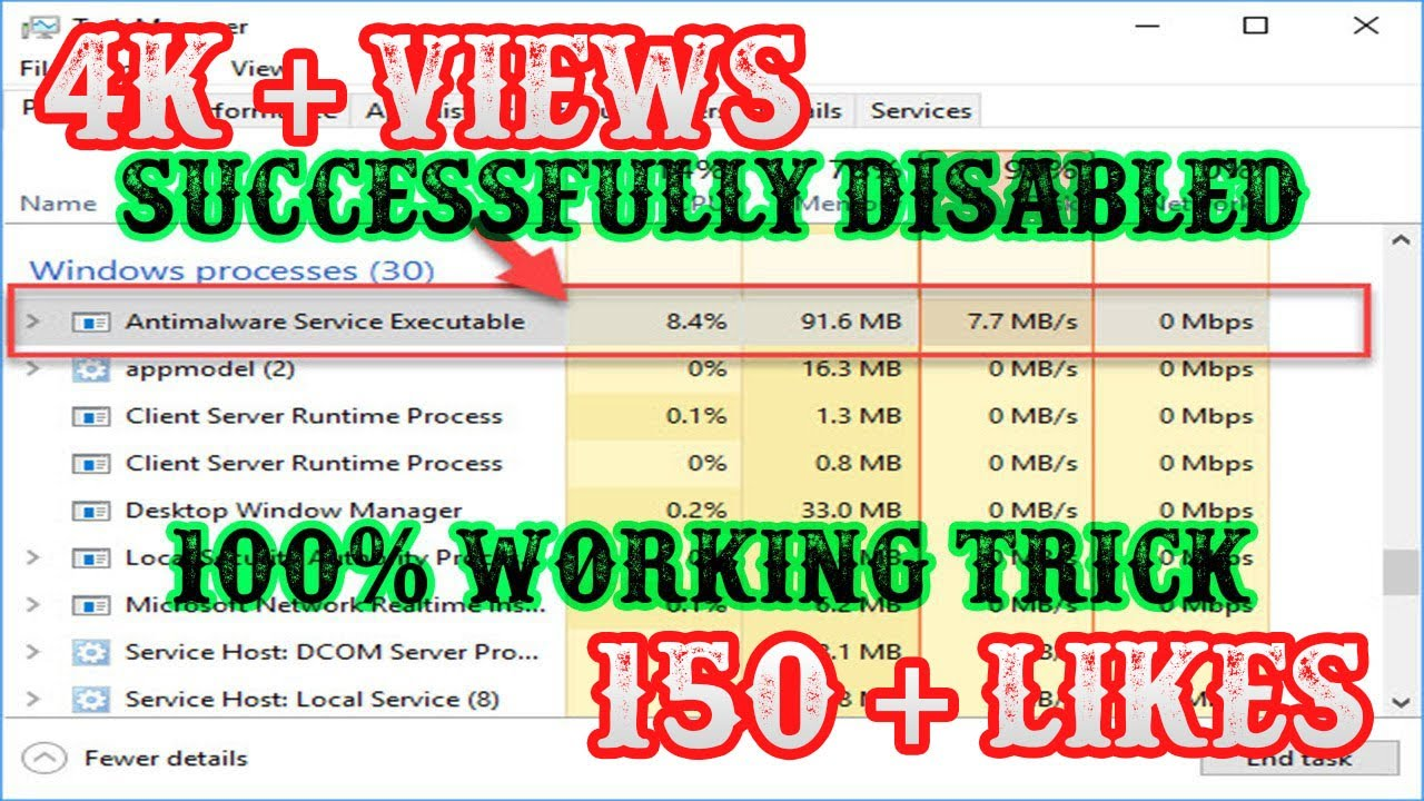 How To Disable Anti Malware Service Executable On Windows 10 Reduce High Cpu Usage Memory Usage Youtube