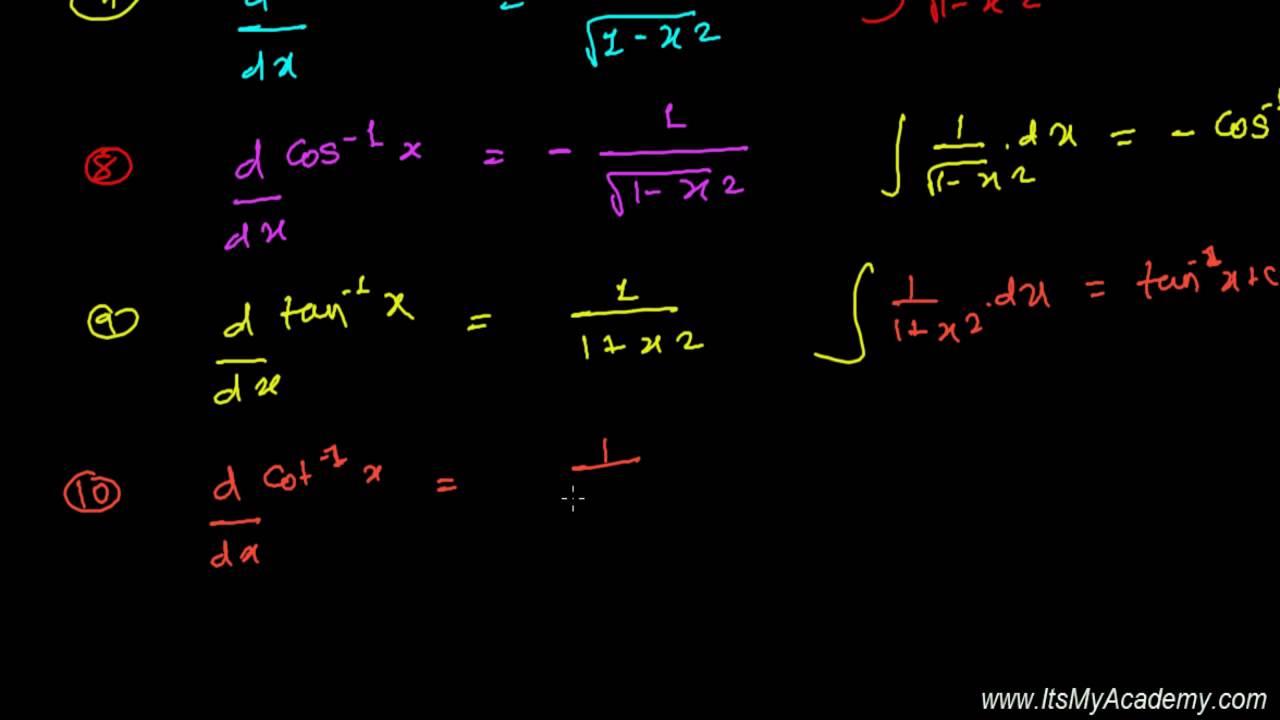 Integration Formula For Inverse Trigonometric Function