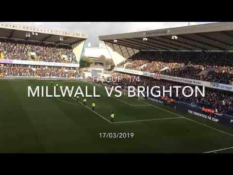 Highlights and atmosphere from The Den. Millwall vs Brighton. FA Cup. 17/03/2019