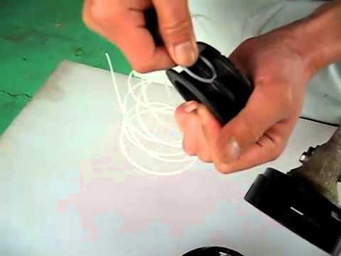 как заправить шпулю триммера