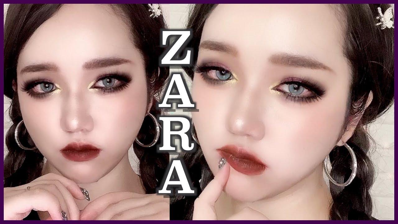 【新作】ZARAコスメ良すぎ‼︎ダークハーフメイクしてみた【ZARA世界観メイク】【レビュー】