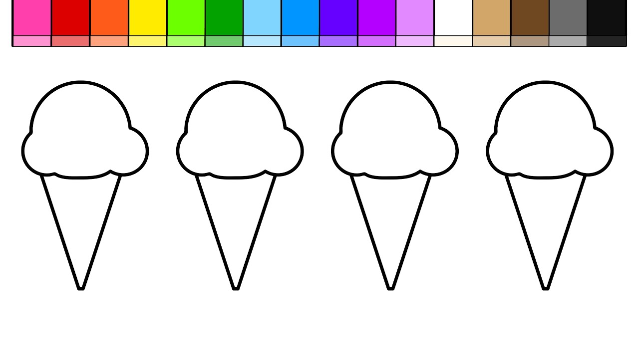 Learn Colors For Kids Color + Draw Ice Cream Coloring Pages   YouTube