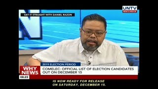 COMELEC: Official list of election candidates out on December 15