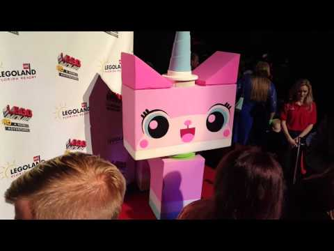 WyldStyle, Emmet and UniKitty at the red carpet premier of The LEGO Movie 4D A New Adventure
