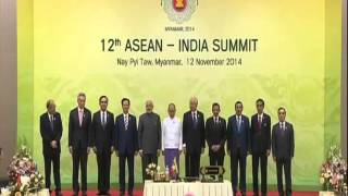 pm modi with the heads of state of 12th asean india summit in nay pyi taw myanmar