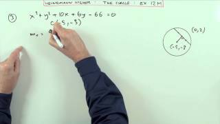 Equation of a chord in a circle Higher Revision: no.3 Ex.12M (Heinemann) Mp3