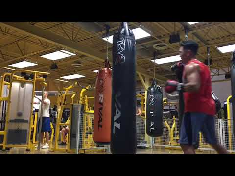 Kickboxing workout in Golds Gym Burnaby
