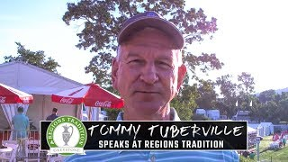 As one of the first folks out on driving range at 5:15 am, former auburn football head coach tommy tuberville discusses politics and getting to engage wi...