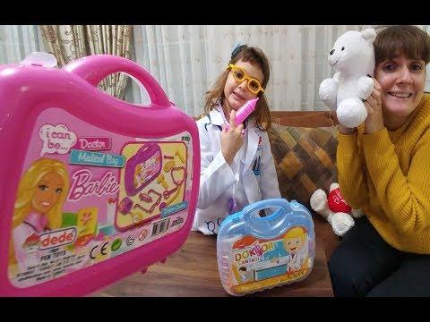 Yeni Doktor Kostümü Barbie ve Mavi doktor çantaları karşılaştırması, Oyuncaklar, Toys unboxing,