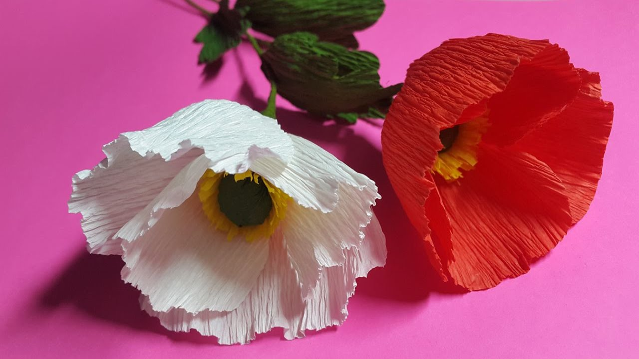 How To Make Poppy Crepe Paper Flowers Flower Making Of Crepe Paper
