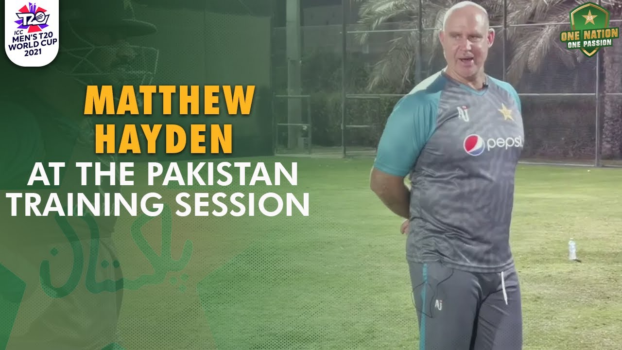 🎤🆙Volume UP 🗣🔊 Hear from Matthew Hayden at the Pakistan training session. #WeHaveWeWill