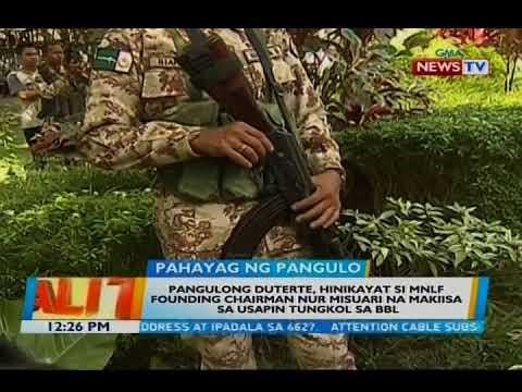 Duterte, hinikayat si MNLF founding chairman Nur Misuari na makiisa sa usapin tungkol sa BBL