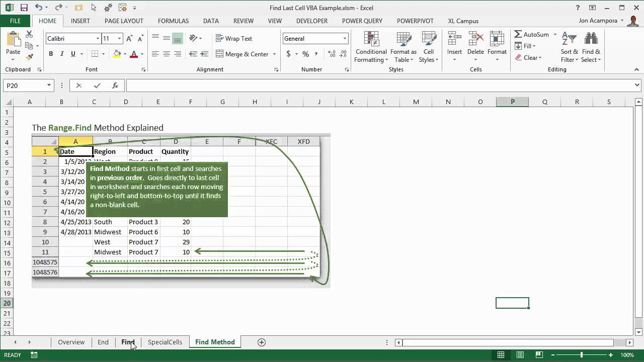 Find the Last Row, Column, or Cell in Excel VBA with the Range Find Method  (Part 2 of 3)