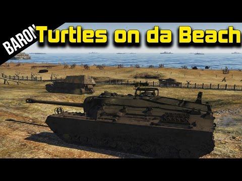 War Thunder Tanks - T-95 Doom Turtle, D-Day Map Gameplay