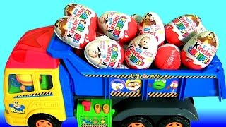 Kinder Surprise Eggs Masha and the Bear Pororo Truck Kids Toys 킨더조이 와 뽀로로 트럭과 라바 장난감  Маша и Медведь