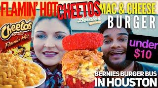 UNDER $10 Flamin' Hot Cheetos Mac & Cheese Burger (A Field Trip to Bernie's Burger Bus)