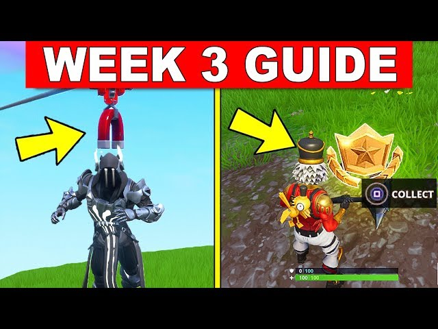 Fortnite WEEK 3 CHALLENGES GUIDE! – RIDE A ZIP LINE, SECRET BATTLE STAR WEEK 3, RING A DOORBELL