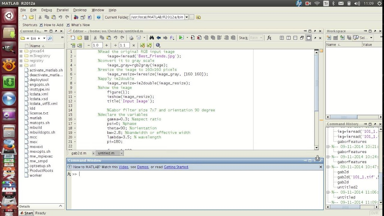 matlab gabor filtering an image