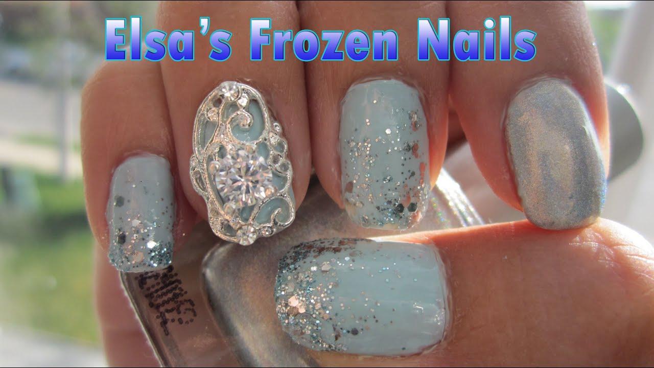 Elsa Frozen Nails - YouTube