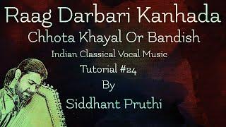 Jo Guru Kripa   Raag Darbari Kanhada   Chota Khayal    Bandish   Tutorial #24    Siddhant Pruthi