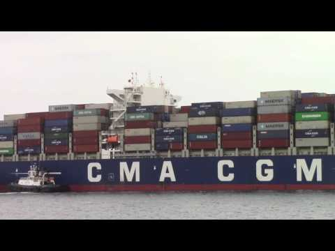 Container Ship CMA CGM THAMES Inbound into Halifax, NS, Canada (June 17, 2017)