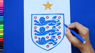 How to draw and color England National Football Team Logo