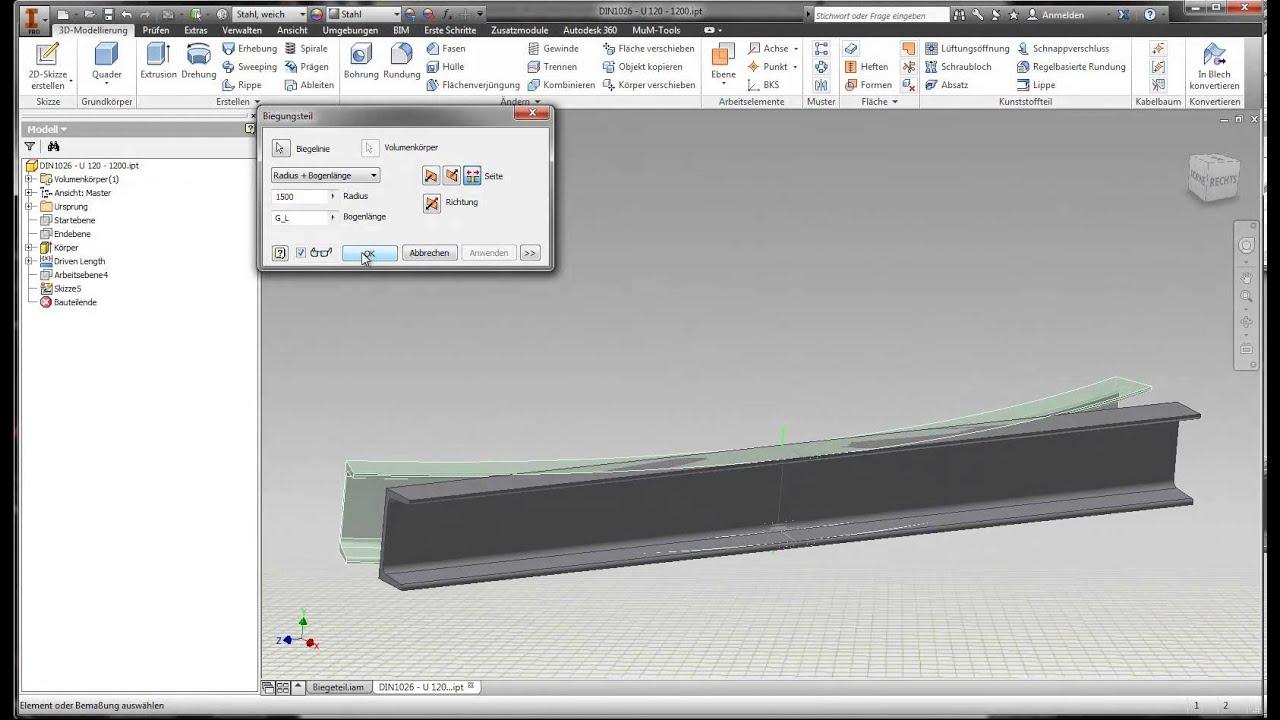 Autodesk Inventor 2014 Biegeteil Aus Inhaltscenter Pro