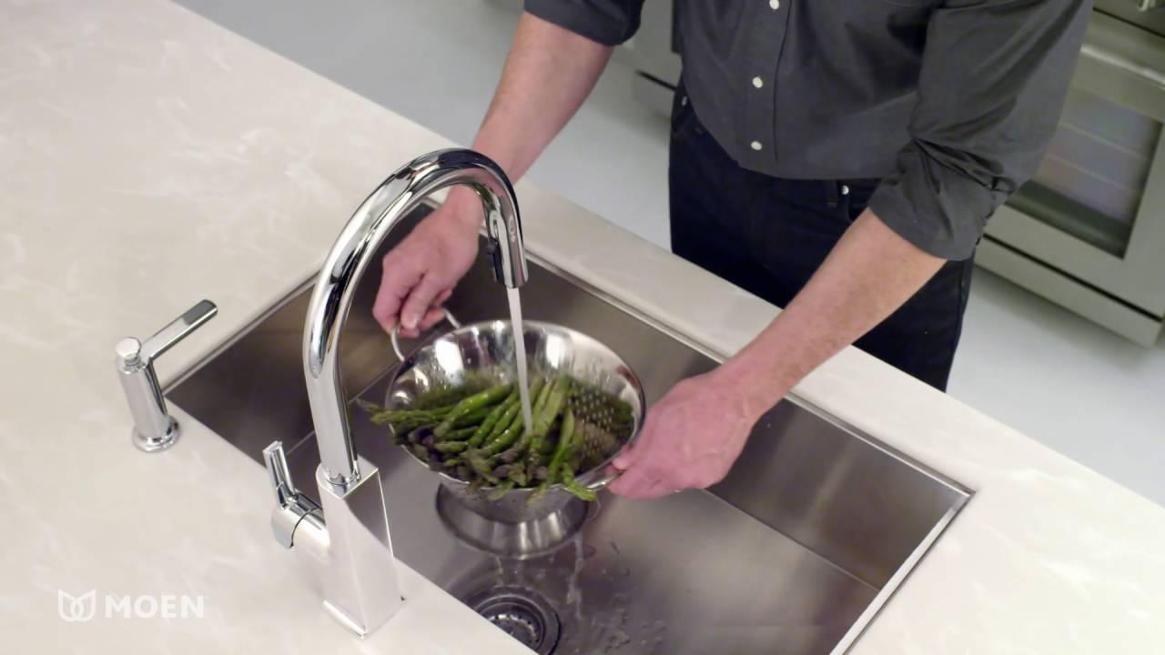 moen s72308ec sto single handle high arc pull down kitchen faucet
