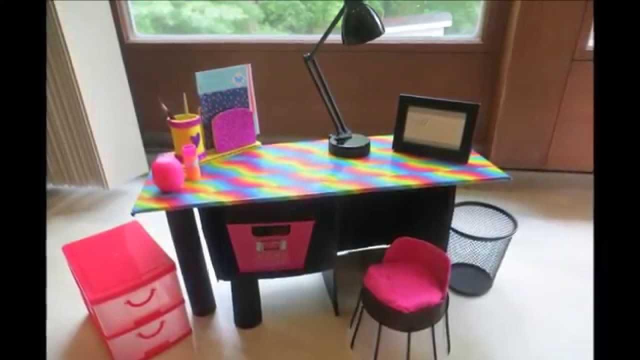 C mo hacer un escritorio para mu ecas y un organizador - Como hacer una mesa de ordenador ...