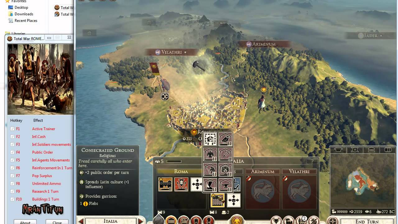 Total war rome ii trainer +9 for reloaded update 1 youtube.