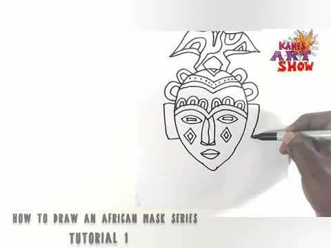 How to draw an african mask series Tutorial1   Comment dessiner un masque Africain tutoriel 1