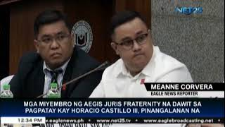 Members of Aegis Juris Fraternity involved in Horacio Castillo III's death, named during Senate hear