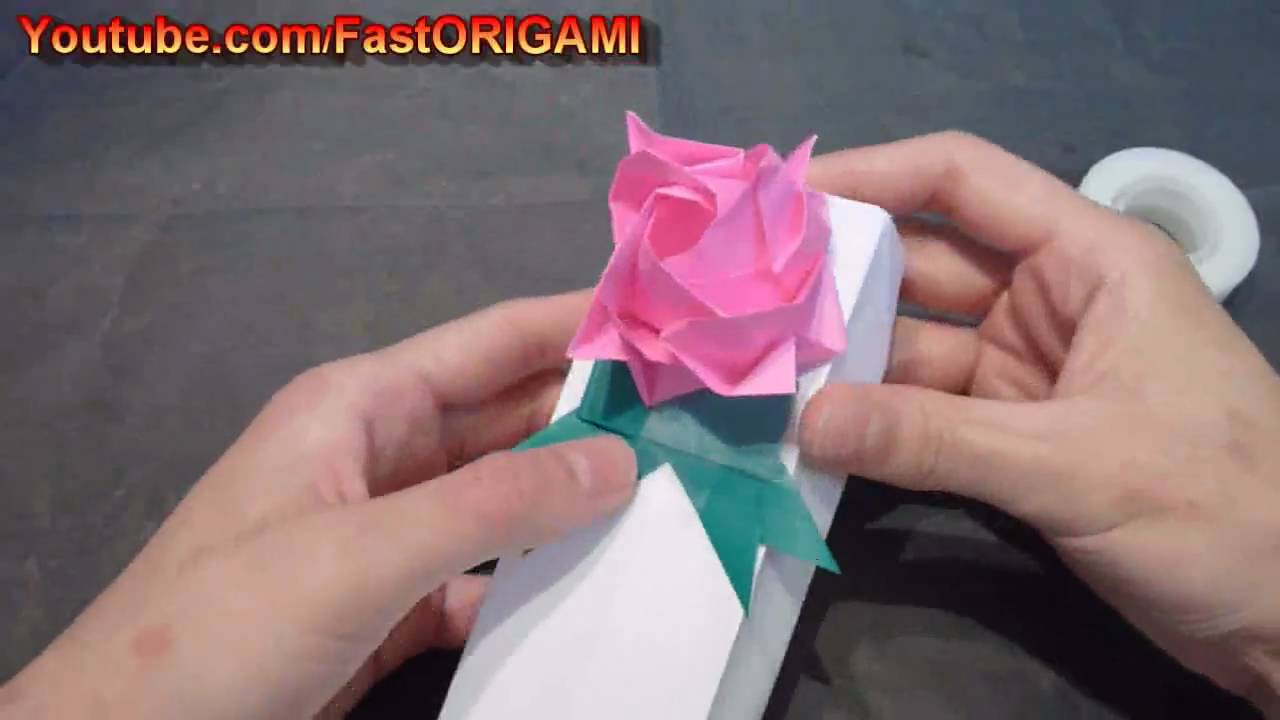 Birthday Gift Box Origami With Rose And Leaf Ribbon Caja De Regalo