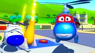 Carl o Super Caminhão e o Helicóptero na Cidade do Carro 🚁 Desenho animado para crianças