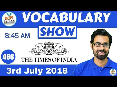 8:45 AM - The Times of India Vocabulary with Tricks (3rd July, 2018) | Day #466